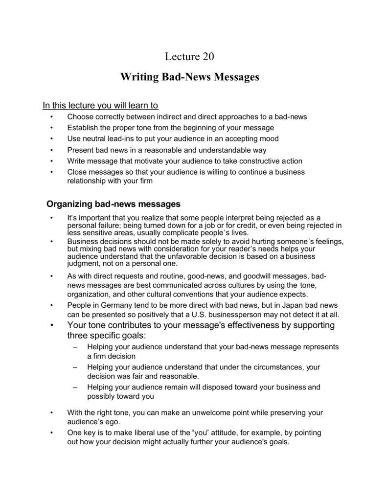 Lecture 20 Writing Bad-News Messages