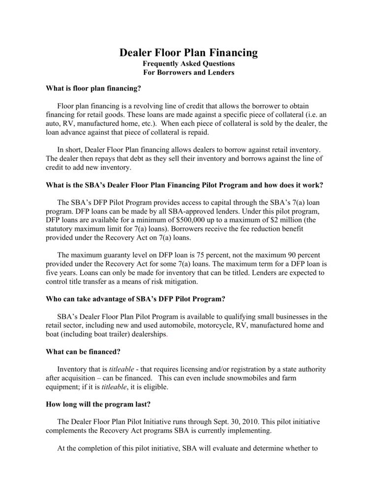 Dealer Floor Plan Financing