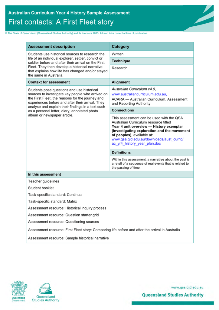 Year 4 History Sample assessment Teacher guidelines | First