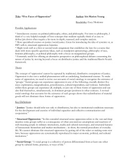 marion young and five faces of oppression Phil 463/563 – iris marion young - syllabus 1  it must include (a) examination  of at least five scholarly  ch2: five faces of oppression (p.