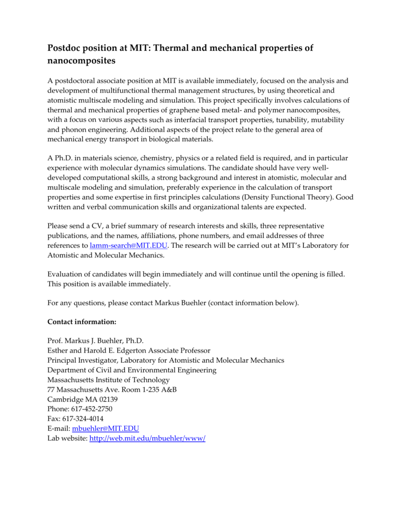Postdoc position at MIT: Thermal and mechanical
