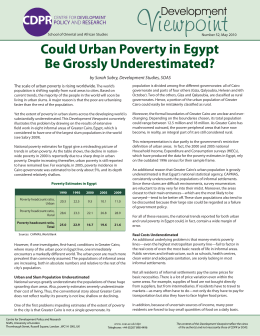 Could Urban Poverty in Egypt Be Grossly Underestimated?
