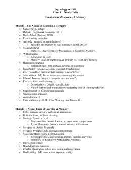 Psychology 461/561 Exam 1 :: Study Guide Foundations of Learning