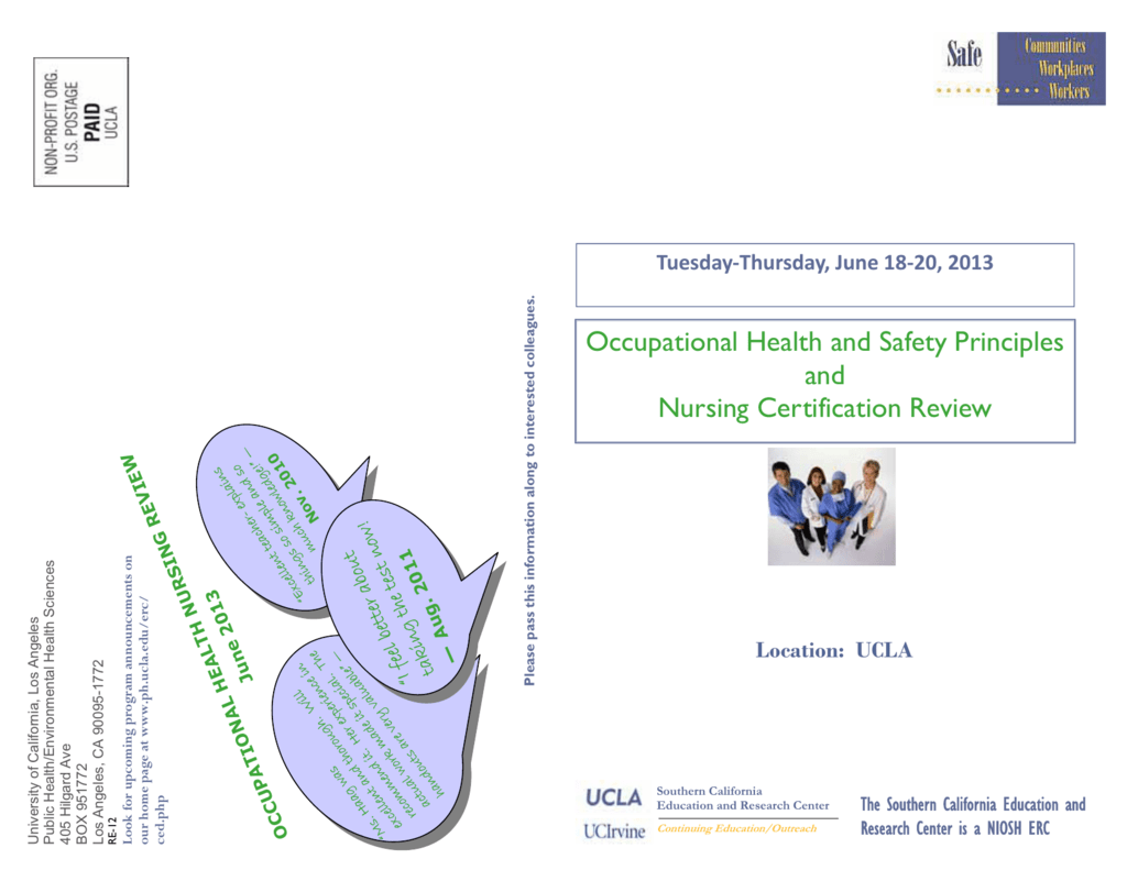 Occupational Health And Safety Principles And Nursing Certification