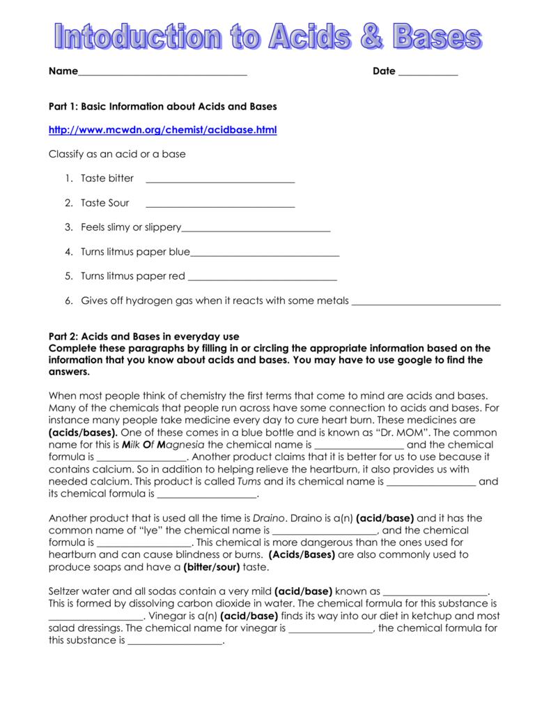 worksheet. Acids And Bases Worksheets. Grass Fedjp Worksheet Study ...