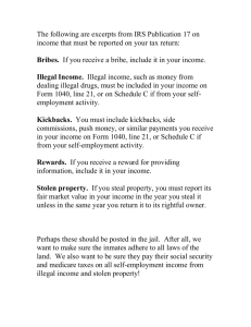 The following are excerpts from IRS Publication 17 on income that