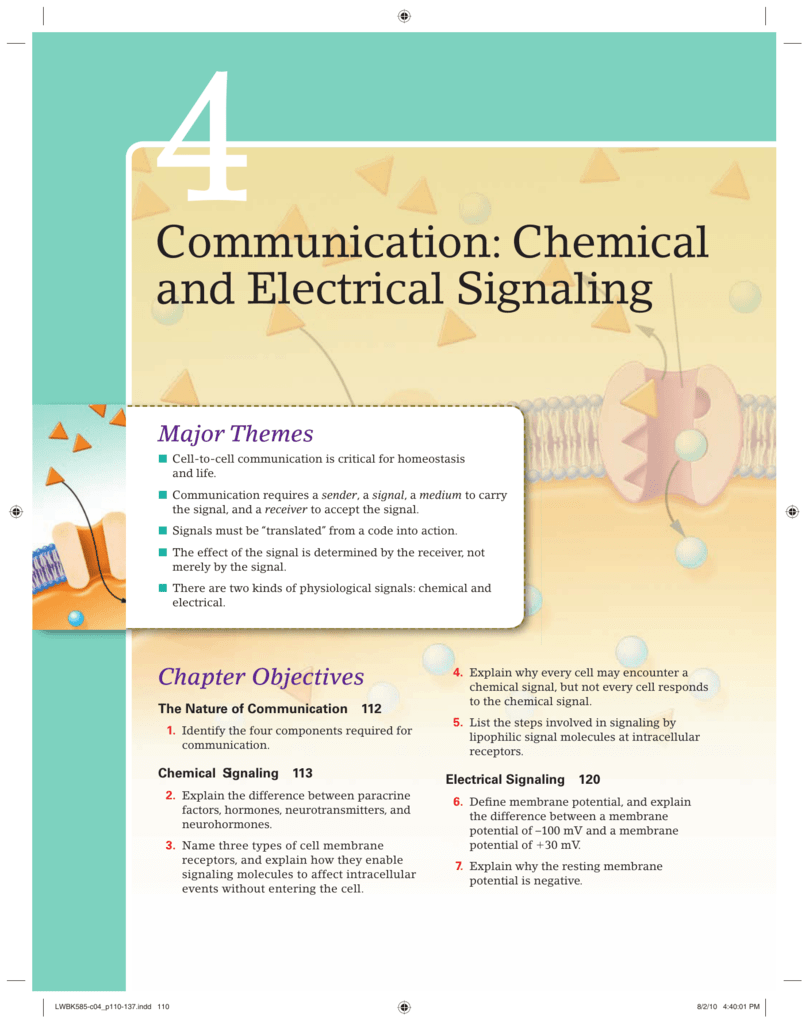 Chapter 4 Communication Chemical And Electrical Signaling