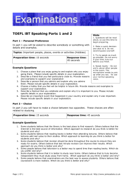 TOEFL iBT Speaking Parts 1 and 2