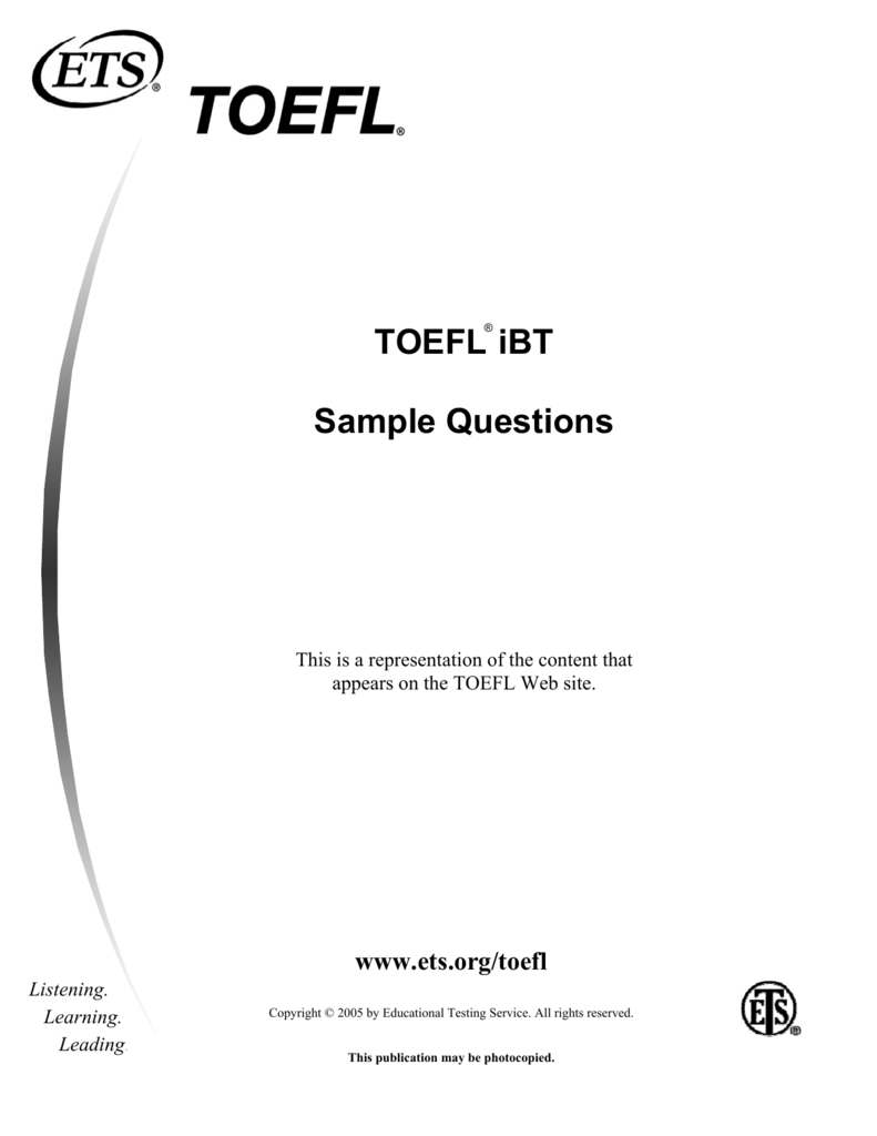 TOEFL iBT Sample Questions