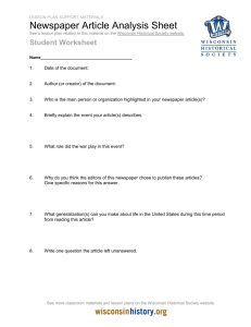 Student Worksheet - Newspaper Article Analysis Sheet