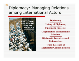 Diplomacy: Managing Relations among International Actors