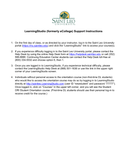 LearningStudio (formerly eCollege) Support Instructions