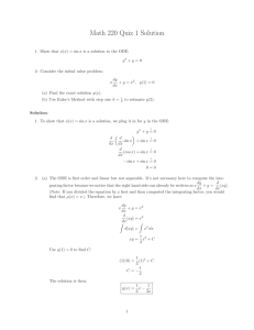 Math 220 Quiz 1 Solution