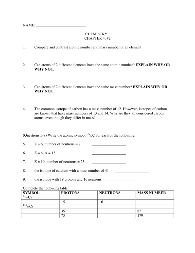 worksheet Counting Subatomic Particles Worksheet chemistry i chapter 4 2 1 compare and contrast atomic