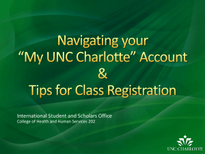 My UNC Charlotte Online Demo - International Student and Scholar