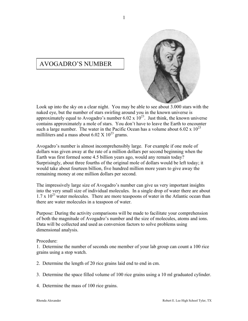 avogadro s number lab essay example Avogadro's number in this experiment you will count the number of moles in a sample and derive the number of obtain the pipet and solution from your lab.