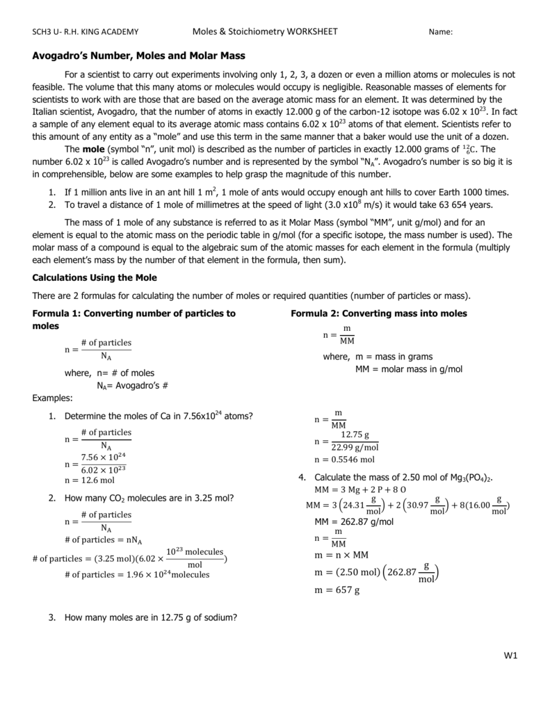 Moles Stoichiometry Worksheet W1 Avogadro S Number