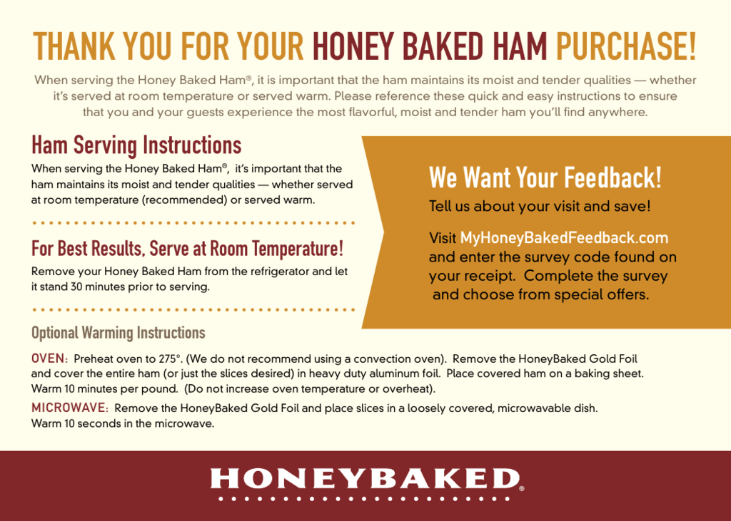 Thank You For Your Honey Baked Ham Purchase