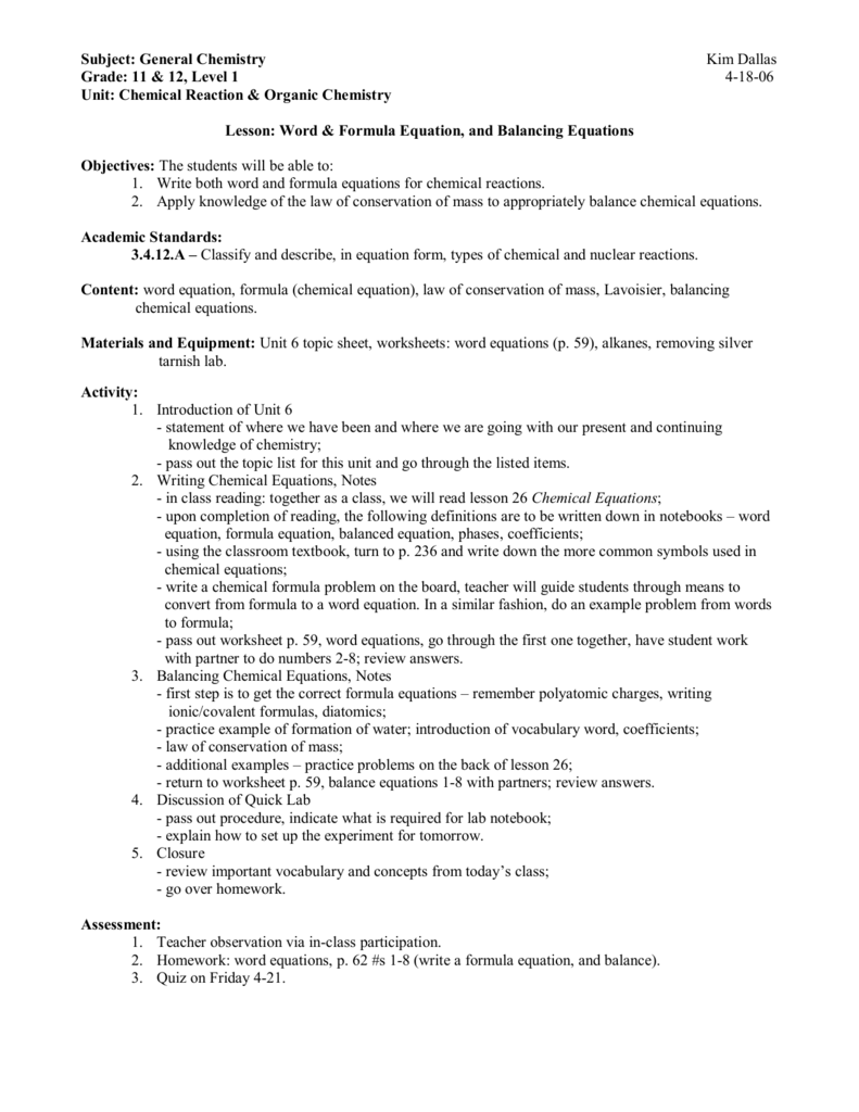 Subject General Chemistry Kim Dallas Grade 11 12 Level 1 418 – Writing and Balancing Chemical Equations Worksheet