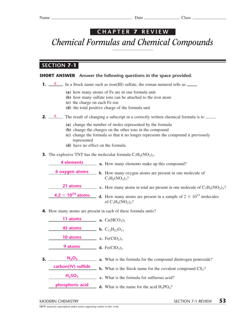 modern chemistry homework 2 5 answers