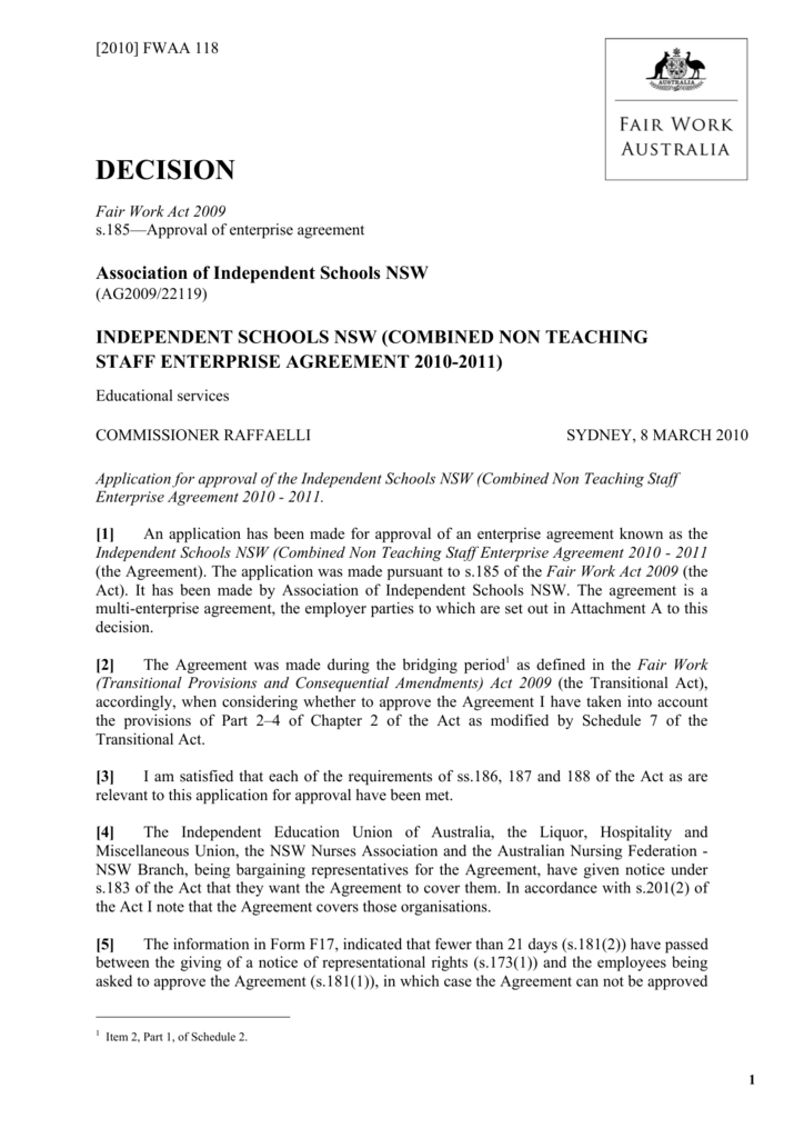 Combined Non Teaching Staff Enterprise Agreement 2010 2011