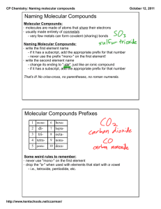 Naming Molecular Compounds Molecular Compounds Prefixes