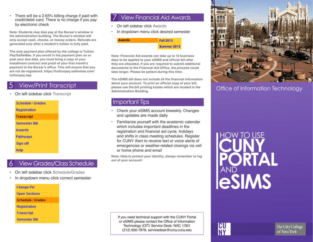 use cuny portal/esims - the city college of new york