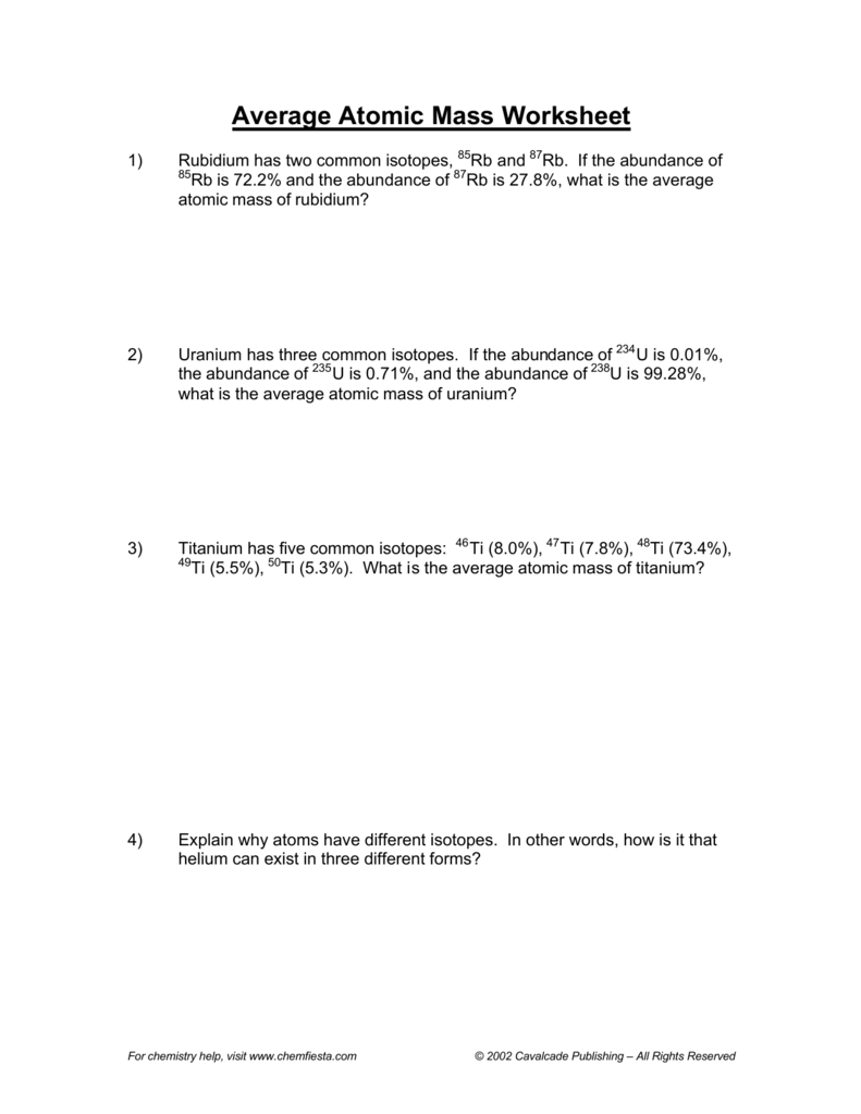 worksheet Calculating Average Atomic Mass Worksheet Answers 008342061 1 f57ef67d289a7496bec610a04719b82e png