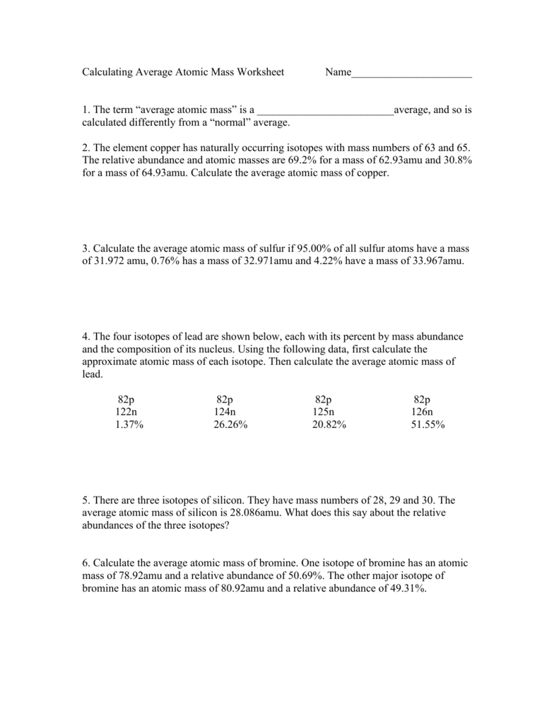 worksheet Calculating Atomic Mass Worksheet calculating avgerage atomic mass worksheet