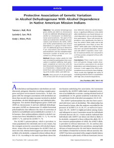 Protective Association of Genetic Variation in Alcohol