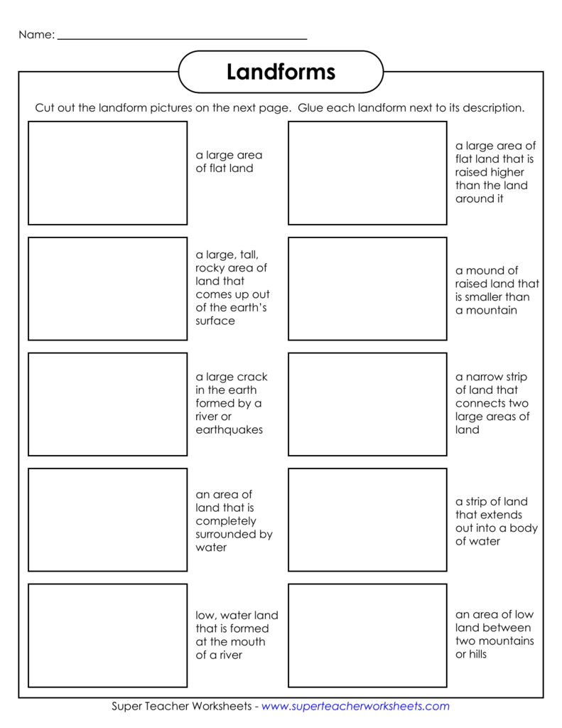 Worksheets Landforms And Bodies Of Water Worksheet landforms super teacher worksheets