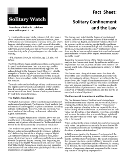 Fact Sheet: Solitary Confinement and the Law