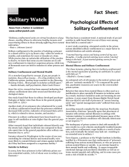 Fact Sheet: Psychological Effects of Solitary