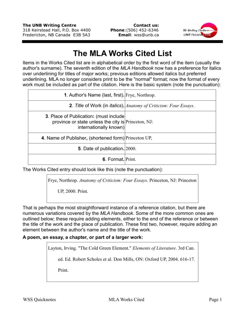 The MLA Works Cited List - University of New Brunswick