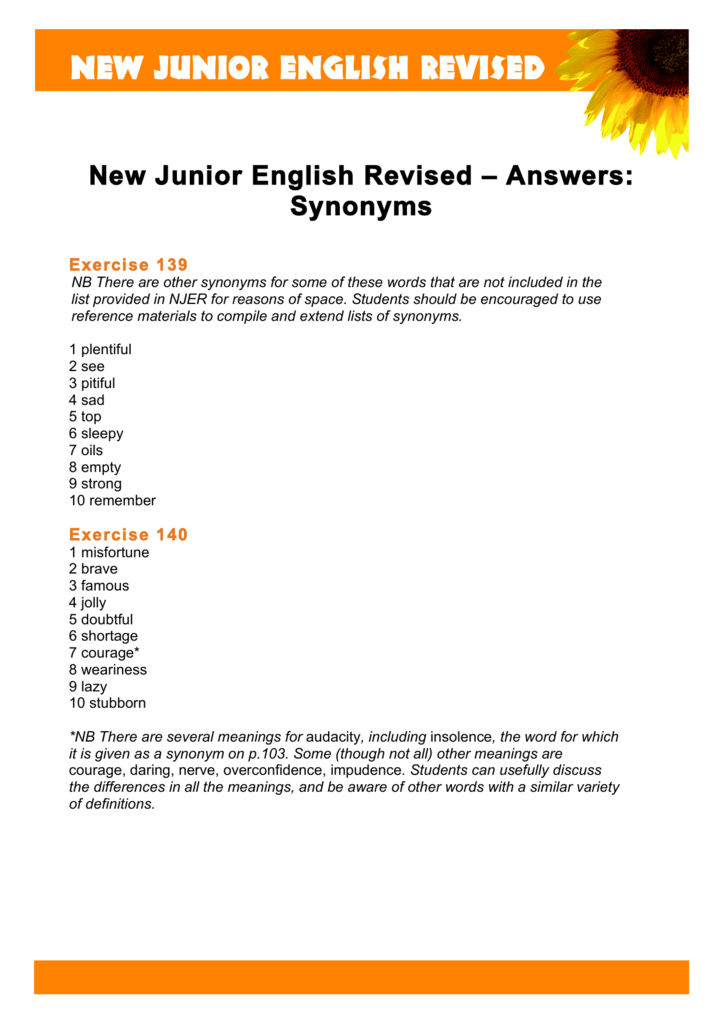 New Junior English Revised Answers Synonyms