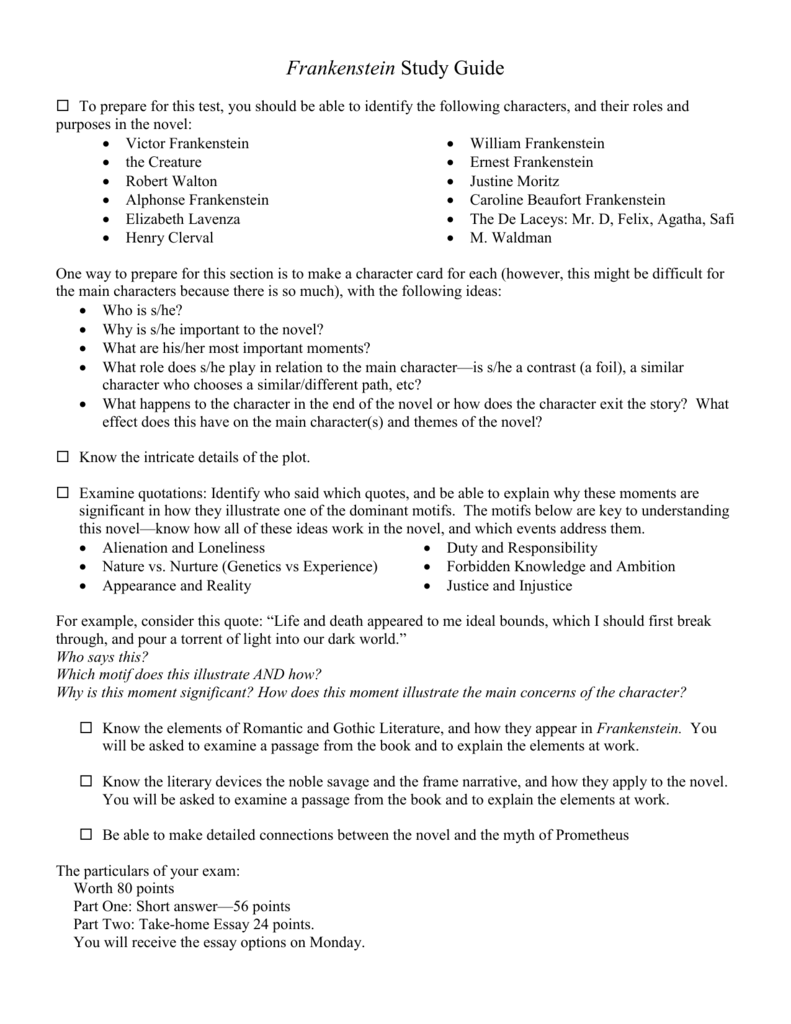 frankenstein study guide short answer