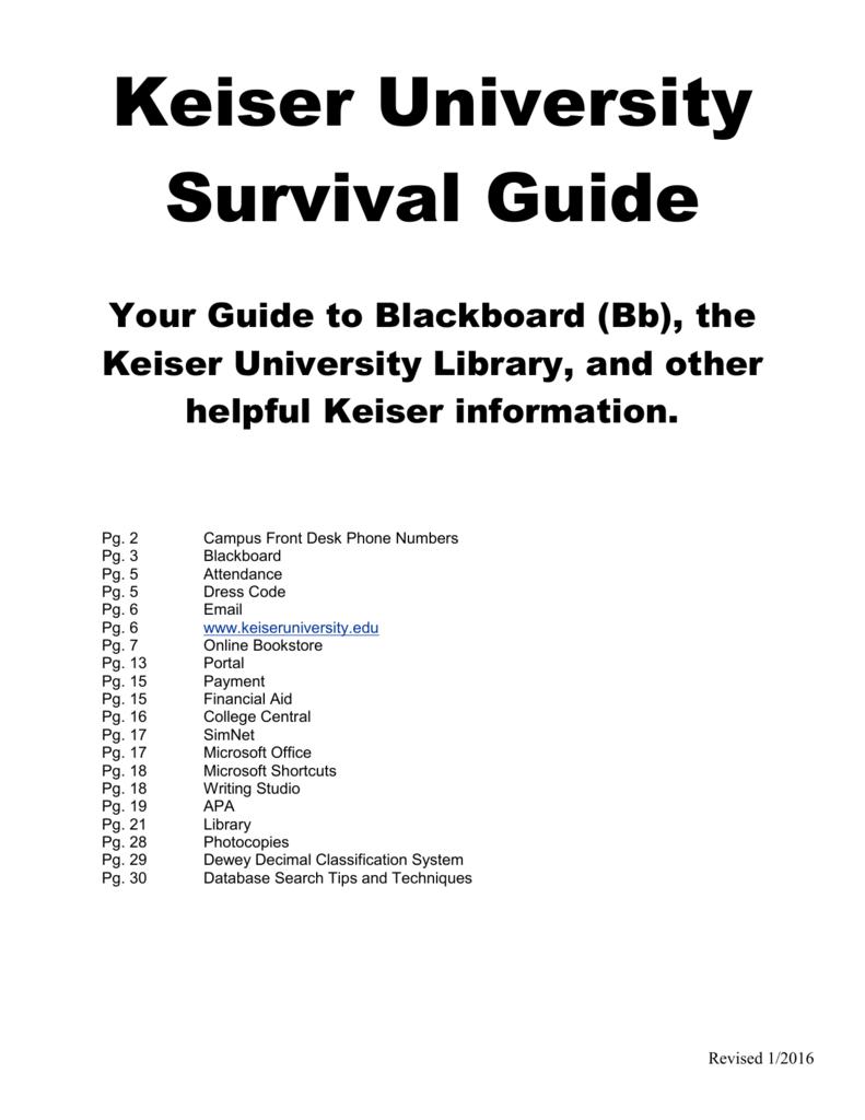 Keiser University Email >> Keiser University Survival Guide