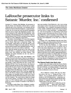 LaRouche Prosecutor Links to Satanic 'Murder, Inc.' Confirmed