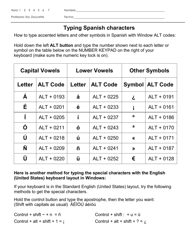 Typing spanish characters capital vowels lower vowels other biocorpaavc