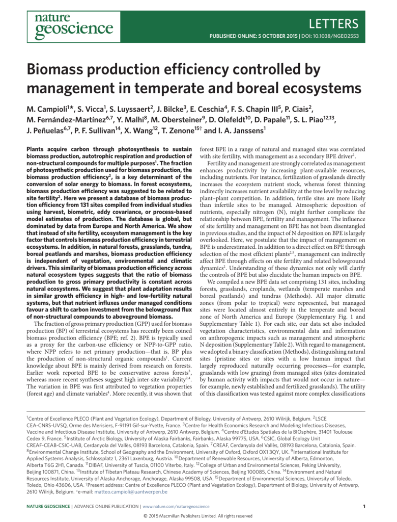 Biomass production efficiency controlled by management
