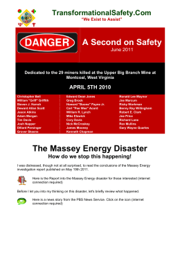 A Second on Safety The Massey Energy Disaster