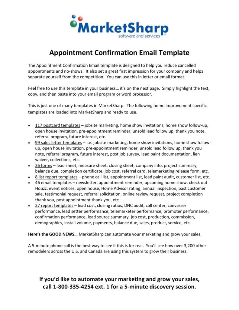 Appointment Confirmation Email Template