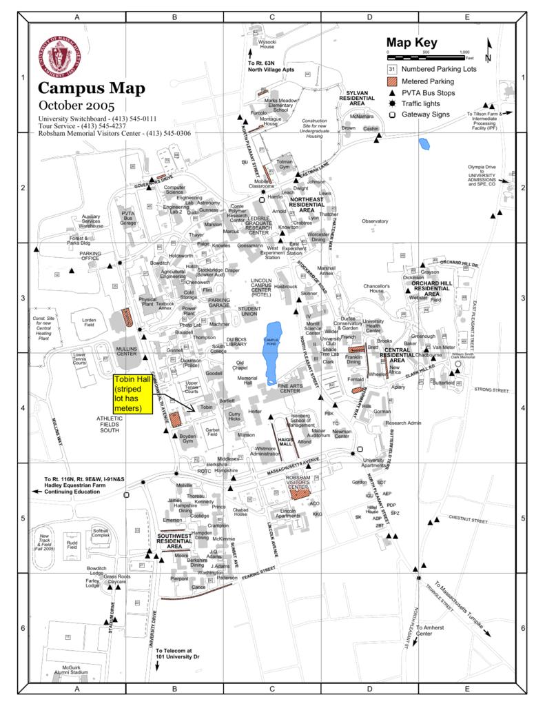 Wartburg College Campus Map.Campus Map University Of Massachusetts Amherst