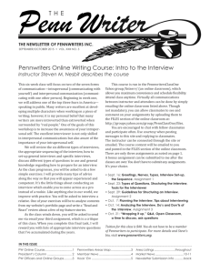 Pennwriters Online Writing Course: Intro to the Interview