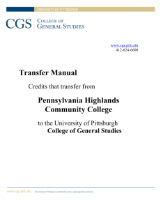 Transfer Manual Pennsylvania Highlands Community College