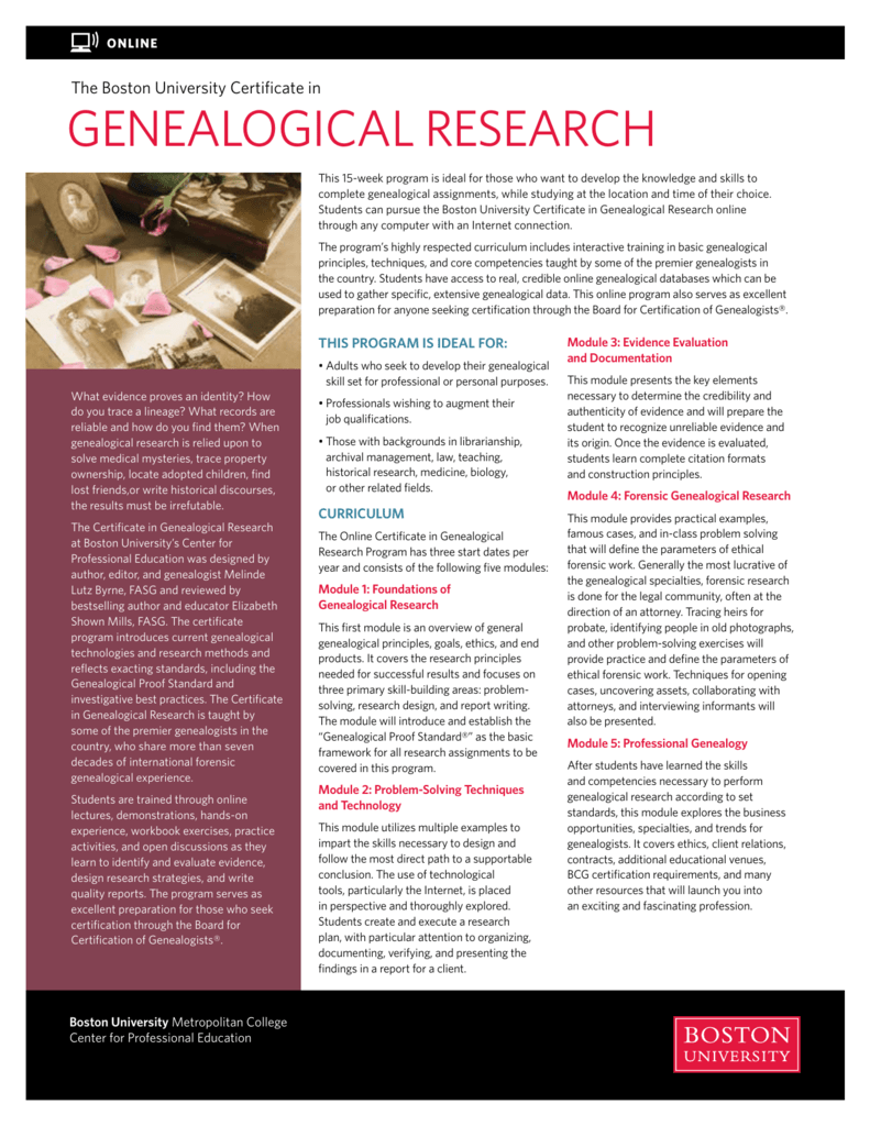 Genealogical Research Boston University Center For Professional