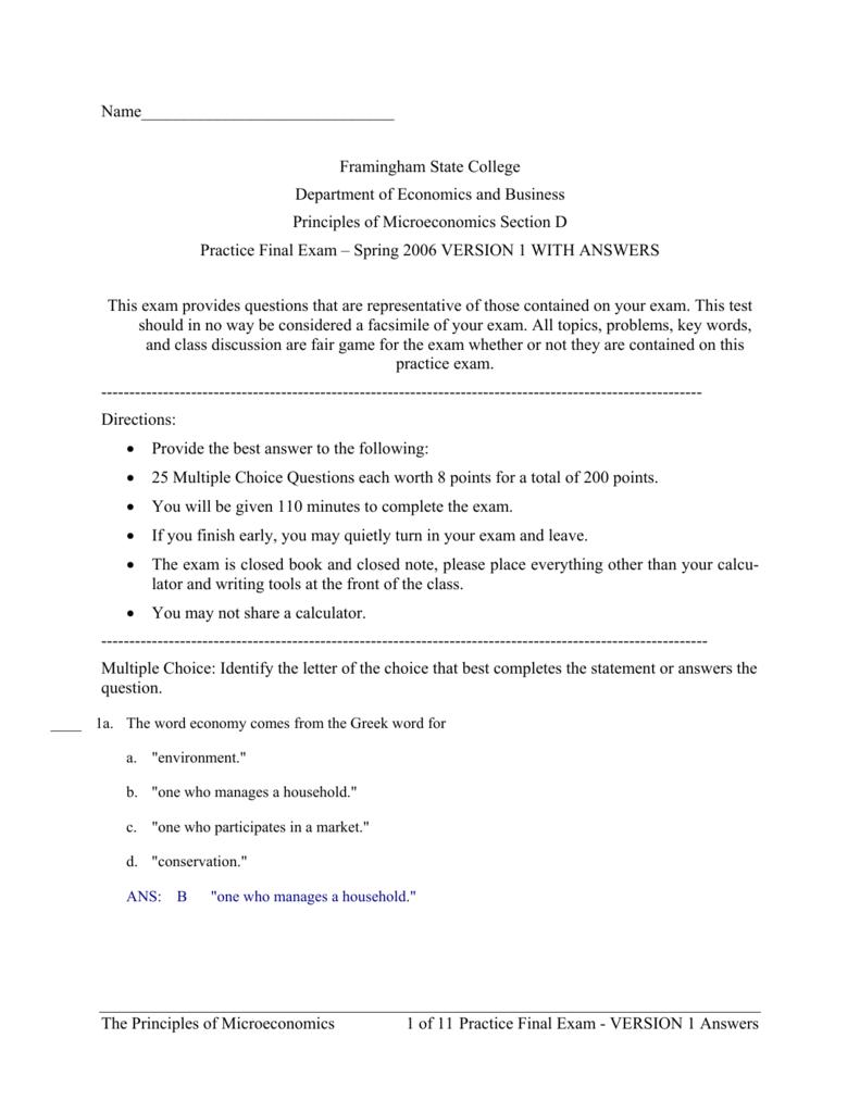 Micro Economics Practice Final Exam Version 1 With Answers