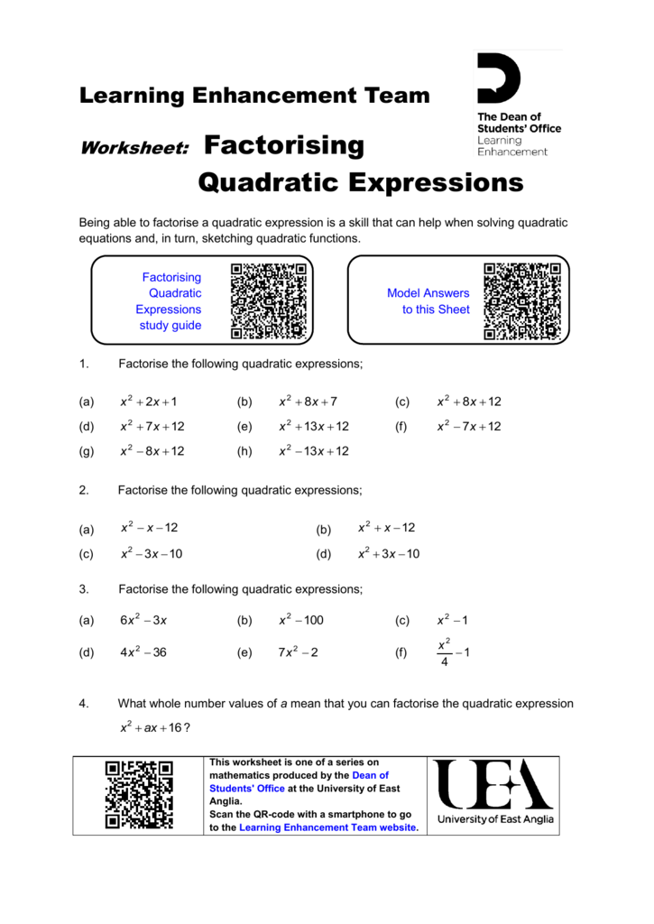Factorising Quadratic Expressions Worksheet - Portal