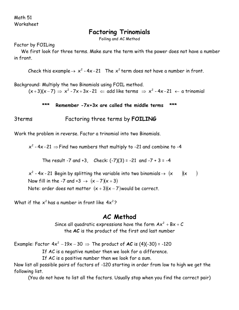 Factoring trinomials ac method ccuart Gallery