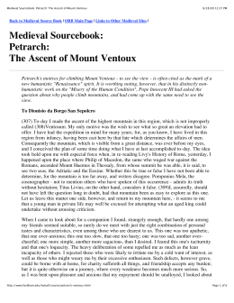 Medieval Sourcebook: Petrarch: The Ascent of Mount Ventoux